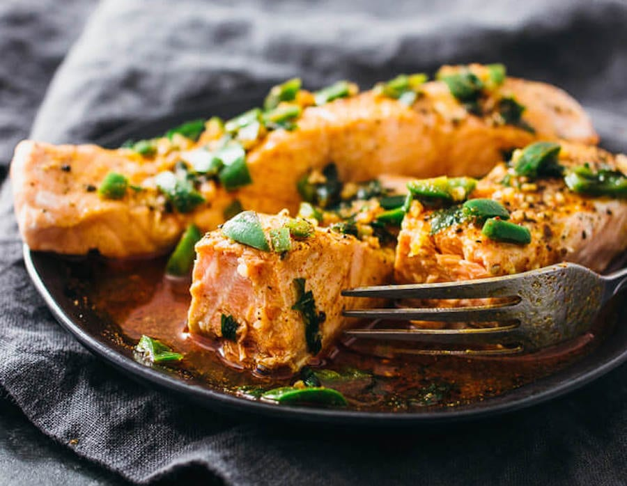 The chili-lime sauce is what really sets this salmon apart, thanks to the blend of jalapeno, lime, garlic, honey, and spices.